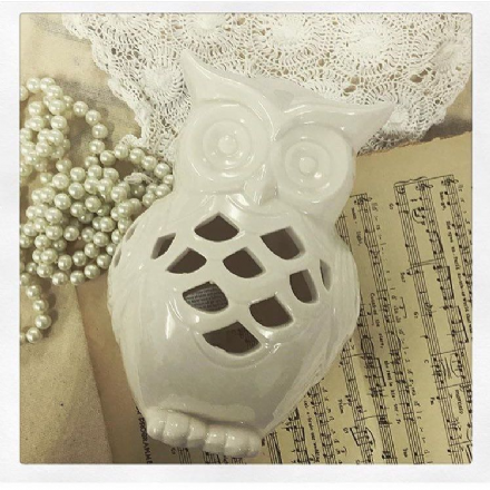 30% OFF Large White Owl Tealight Holder With Cutouts